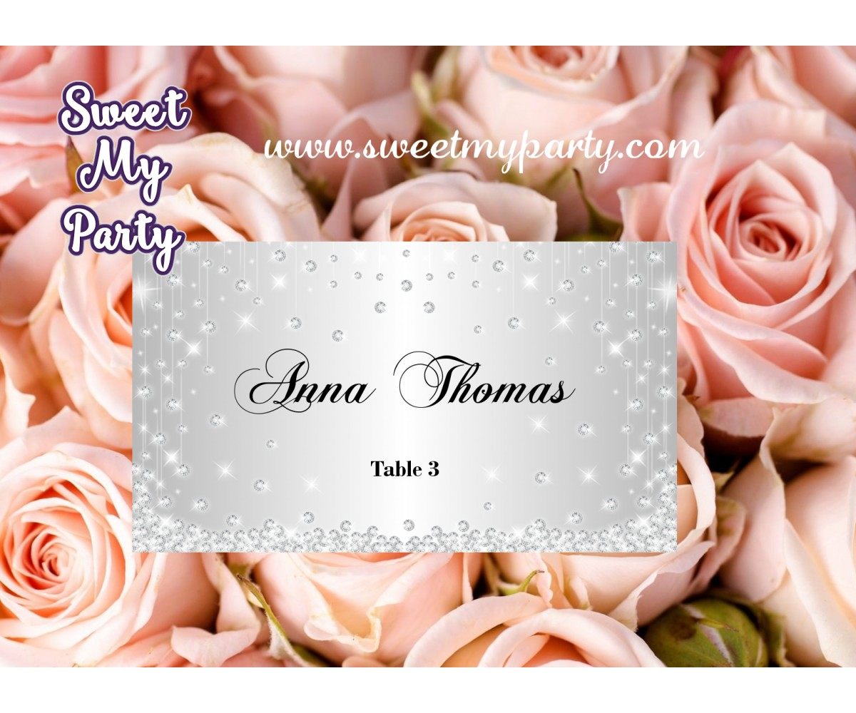 Silver Diamonds Wedding Place Cards,Glitter Sparkle Wedding Place Cards,(015w)